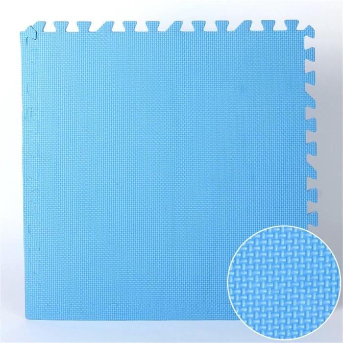 Tapis d'escalade de tapis de mousse de trompette de plancher de mousse de ménage Tapis de mousse d'EVA 30 * 30 * 1 cm bleu