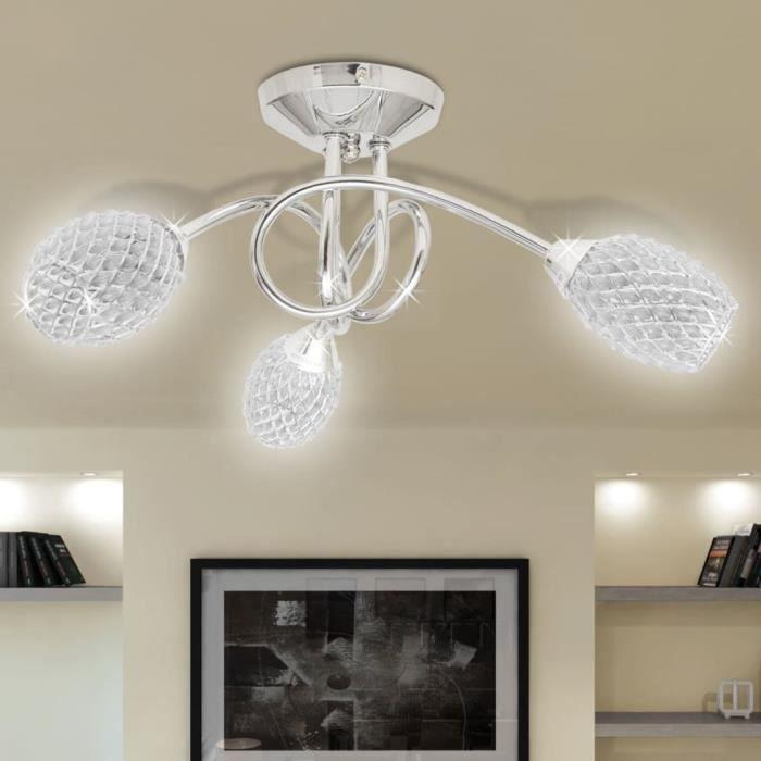 Lustre/ Lampe de Plafond Blanche 3 Abats Jours en Cristal G9