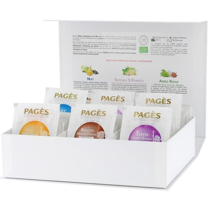 PAGES - Coffret de 60 sachets d'Infusions Bio
