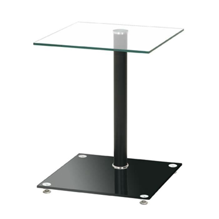 Table d'appoint en aluminium laqué noir avec plateau en verre, L40 x P40 x H52 cm