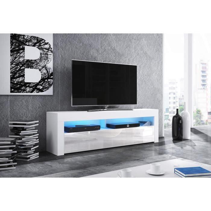 Meuble TV design MEXICO 160 cm, 1 porte et 1 niche, coloris blanc brillant + LED L 160 X P 35 X H 50 cm Blanc
