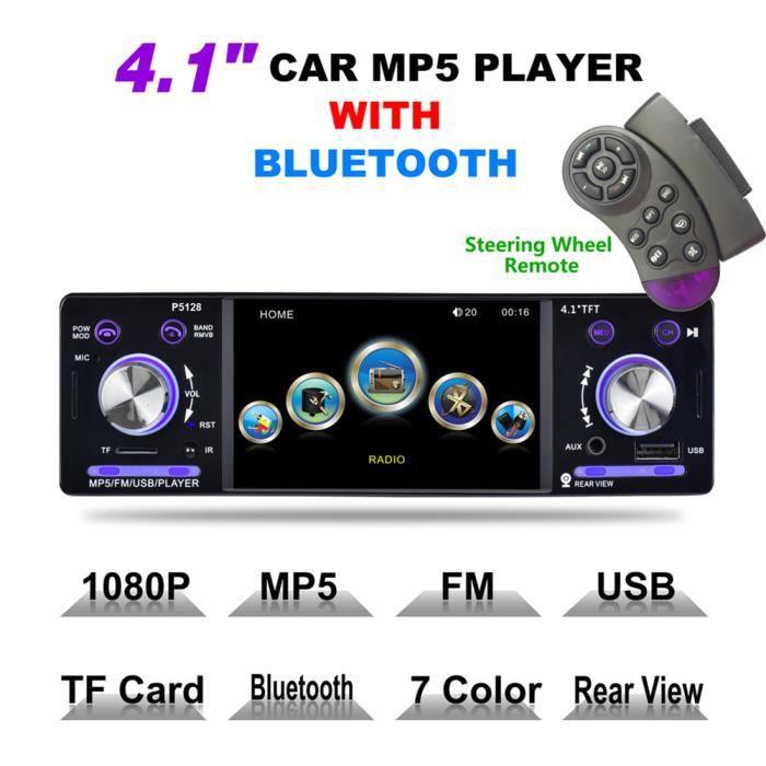 4,1 pouces voiture stéréo lecteur MP5 Bluetooth sans fil support de récepteur audio de voiture à distance USB SD AUX
