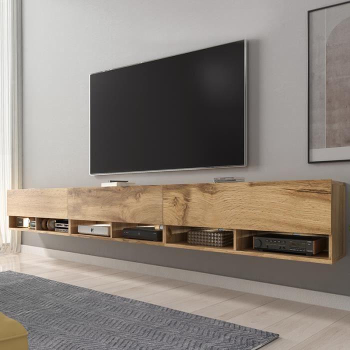 Meuble TV / Meuble de salon - WANDER -300 cm - avec LED - chêne wotan - design moderne