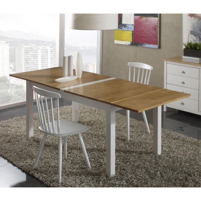 Table de repas à allonges Blanc et Bois - EMIE - L 150/185/220 x l 85 x H 75