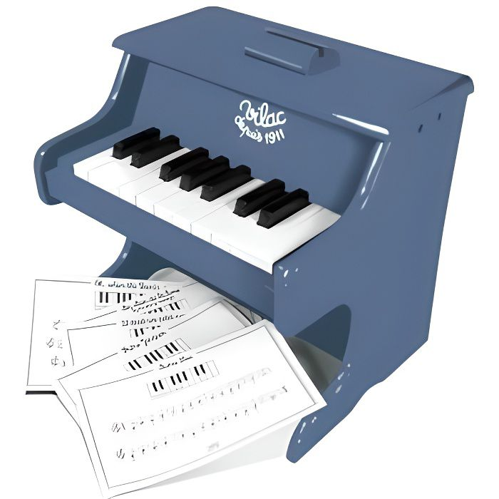 Piano en bois laque Bleu 18 touches avec partitions - Jouet musical Vilac - Instrument de musique enfant