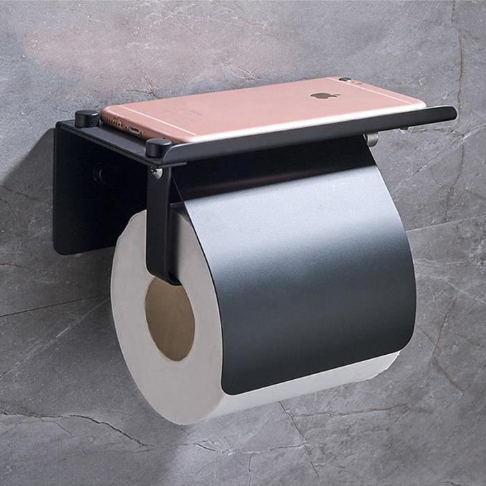 Aluminium Papier Hygiénique Porte-rouleau mur Couverture Salle de bains avec téléphone étagère Noir