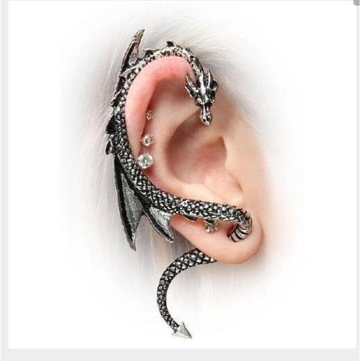 boucle d'oreille dragon argent