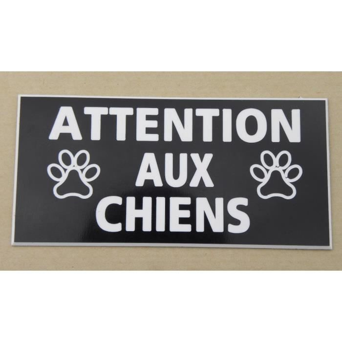 plaque grav e panneau attention aux chiens 98 x 200 mm achat vente plaque signal tique. Black Bedroom Furniture Sets. Home Design Ideas