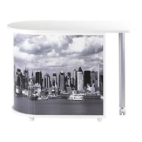 Bureau informatique pivotant 105 cm blanc manhattan for Meuble bureau rideau coulissant