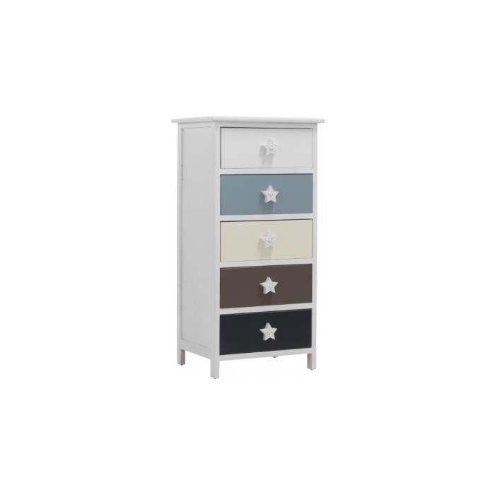 meuble de rangement enfant pin massif blanc 5 tiroirs color s achat vente commode de chambre. Black Bedroom Furniture Sets. Home Design Ideas