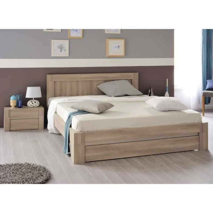 ensemble lit avec tiroir valia bois 140x190 cm lit sans. Black Bedroom Furniture Sets. Home Design Ideas