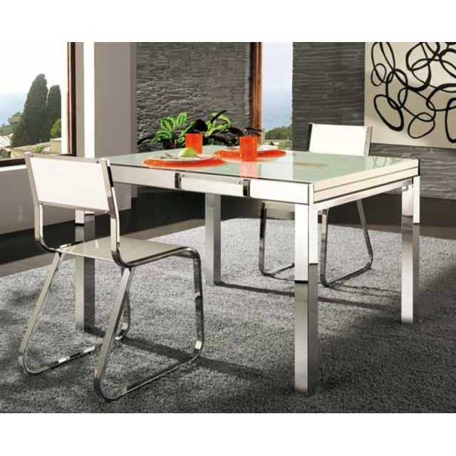 Table extensible napoli verre blanc pieds chrome achat for Table verre blanc extensible