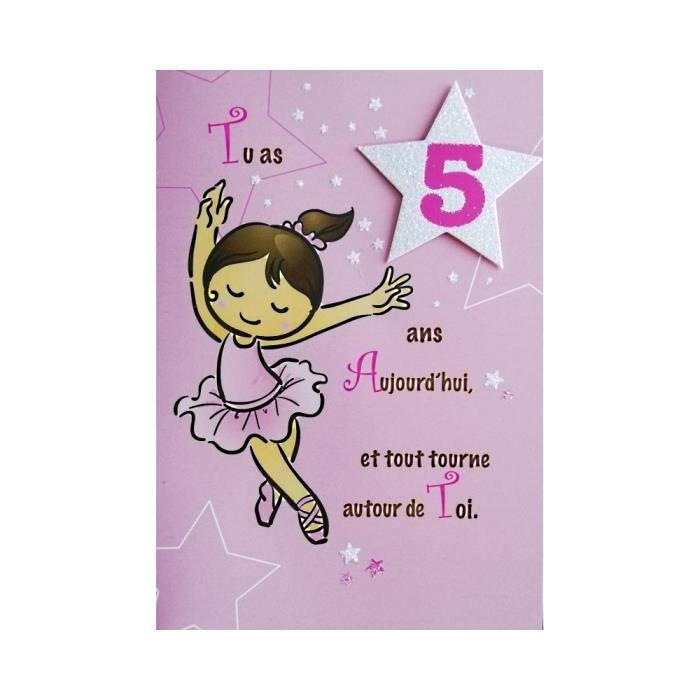Carte De Voeux Enfant Anniversaire 5 Ans Fille Achat Vente Carte Correspondance Carte De Voeux Anniversaire Cdiscount