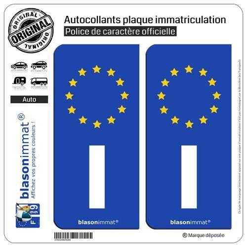 10x4.5 autocollant plaque immatriculation stickers angle arrondi droite F europe