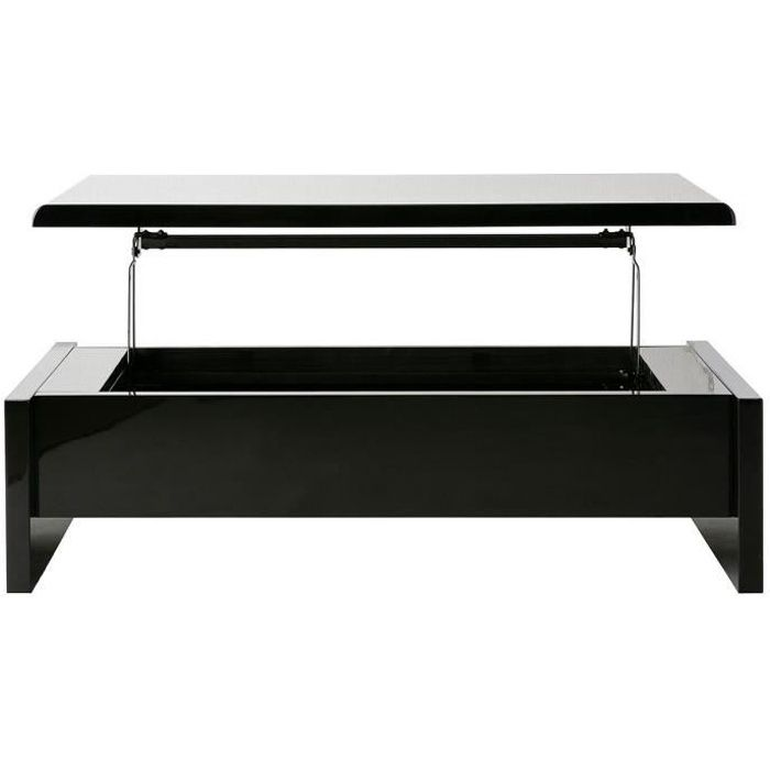table basse design reglable noire avec rangement lola. Black Bedroom Furniture Sets. Home Design Ideas