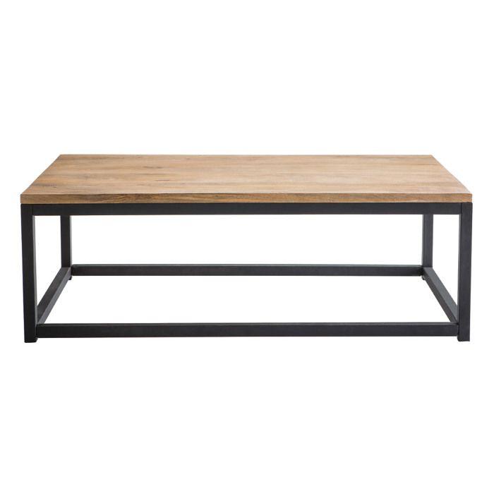 Miliboo Table Basse Industrielle Bois Metal Rectangulaire