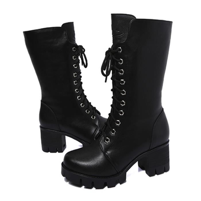 Femmes Ankle Booties Leather Knight Ladies Martin Boots Zip Cowboy Shoes Noir_XI*5107