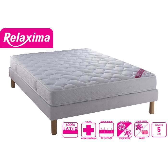 ensemble sommier lima blanc matelas relaxima 100 latex. Black Bedroom Furniture Sets. Home Design Ideas