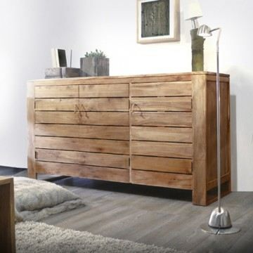 buffet bahut teck massif meuble de rangement en achat vente buffet bahut buffet en teck. Black Bedroom Furniture Sets. Home Design Ideas