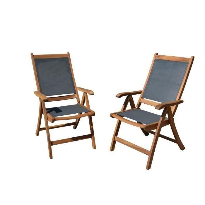 FAUTEUIL JARDIN  Lot de 2 fauteuils en bois d'acacia FSC et textilè