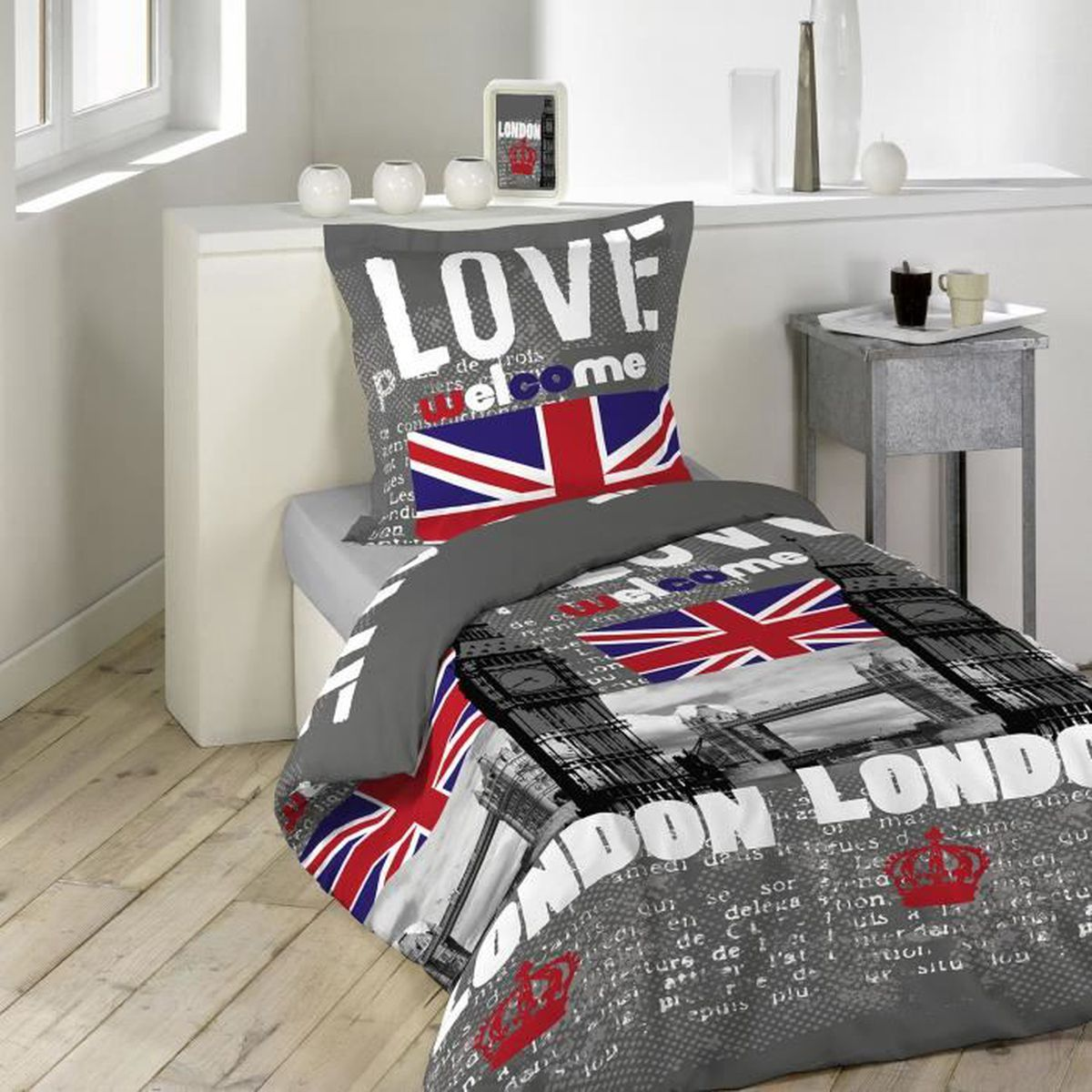housse de couette london 140x200 achat vente housse de couette london 140x200 pas cher les. Black Bedroom Furniture Sets. Home Design Ideas