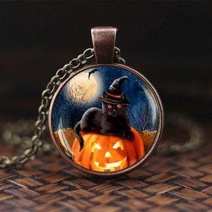 SAUTOIR ET COLLIER Collier pendentif chat Halloween avec dôme en verr