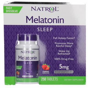 STRESS - SOMMEIL Natrol Melatonin 5 Mg, 250 Fast Dissolve Tablets S