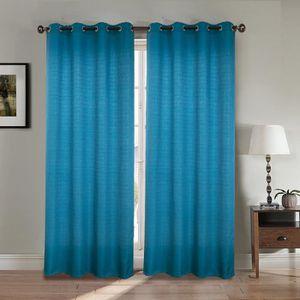 RIDEAU Paire double rideaux 140x260 cm Bleu - Effet lin