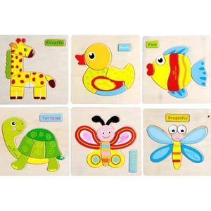 PUZZLE 6 PCS puzzle en bois les enfants de 2 à 5 ans, Puz