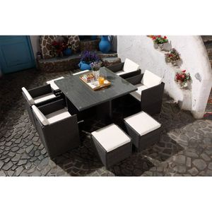 table de jardin en resine tressee avec chaise gris achat vente table de jardin en resine. Black Bedroom Furniture Sets. Home Design Ideas