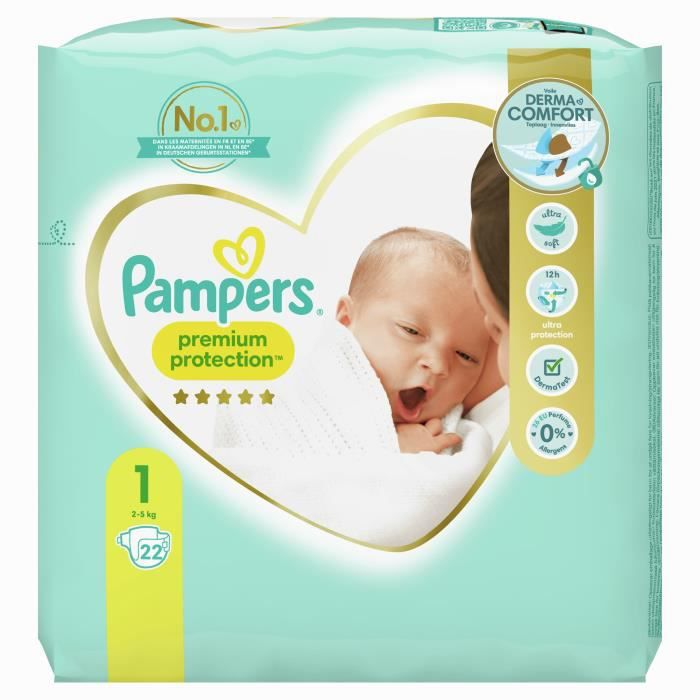 pampers new baby taille 1 2 5kg 22 couches achat. Black Bedroom Furniture Sets. Home Design Ideas