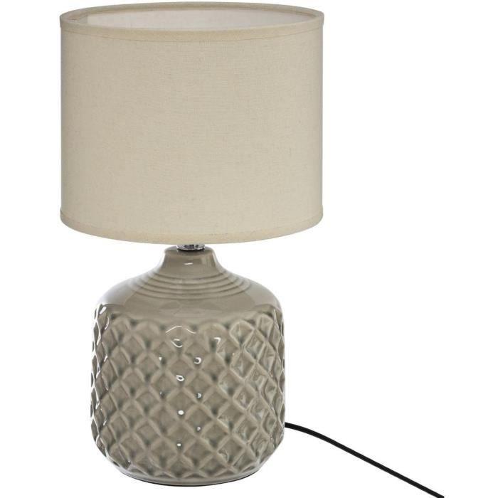Lampe à poser - E14 - 60 W - H. 36,5 cm - Taupe