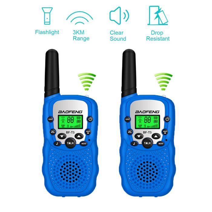 Talkie Walkie Enfants PMR446 8 Canaux Écran LCD Lampe de Torche VOX 10 Tonalités d'Appel Verrouillage des Canaux Talkie Walkie-Bleu