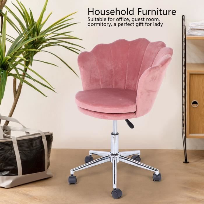 Chaise de bureau Velours Métal Rose Réglable Pivot Home Office Moderne Tendance Design Ergonomique Confortable -OLL