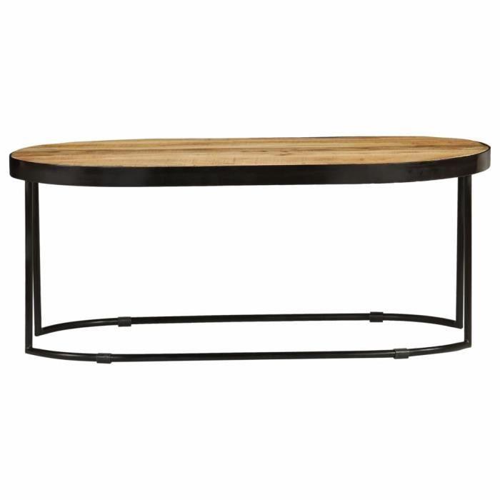 Chic Table basse Scandinave - Bout de canapé Table à thé Ovale Bois massif de manguier brut et acier 100 cm &17605