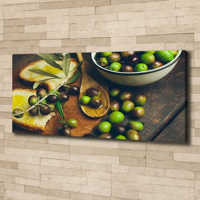 Tulup 125x50 cm art mural - Image sur toile:- Nourriture boissons - Olives - Vert