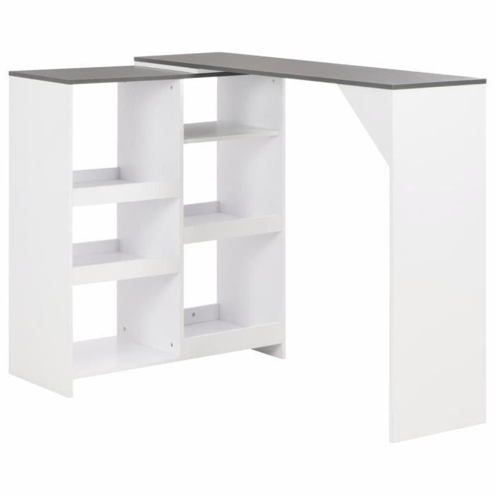 *9001SALE Table de Bar Haute de 2 à 4 personnes Table de Comptoir-Table de Bar Extérieur-Mange-debout avec tablette amovible Blanc 1