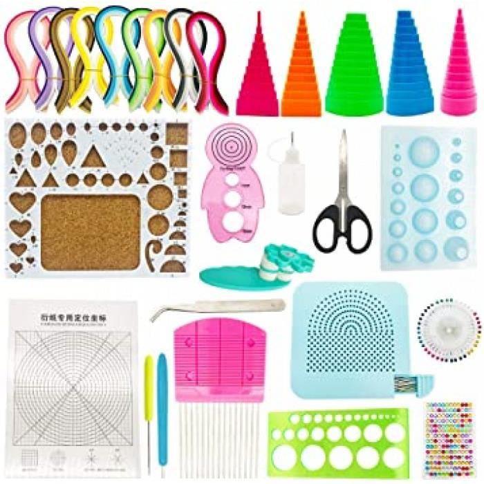 29 pcs papier quilling kit, 20 pcs quilling outils avec 40 couleurs 900 bandes quilling papier de 5x390mm pour l'artisanat en papier