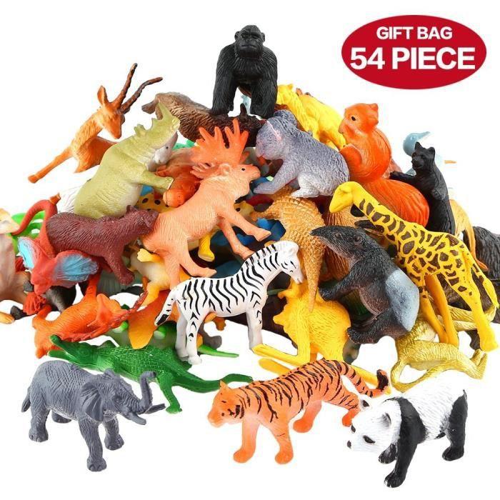 Figures Animaux, 54 Pièces Mini Jouets Animaux Maquis, Monde Animal Ressemblant Animaux Sauvages Vinyle Plastique Ressources