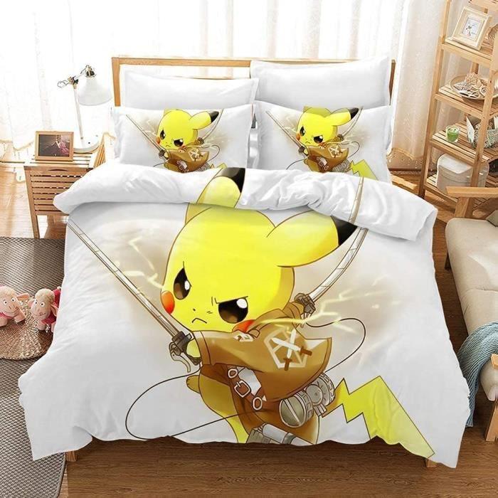 Pokemon Parure De Lit en Microfibre Housse De Couette 140x200cm Pikachu 1-2 Personne Motif 3D Digital Print Housse Couette Manga Tai