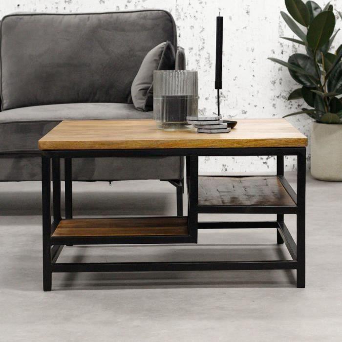 Livia Table Basse 90x60 cm Industriel - Bois Massif Carré