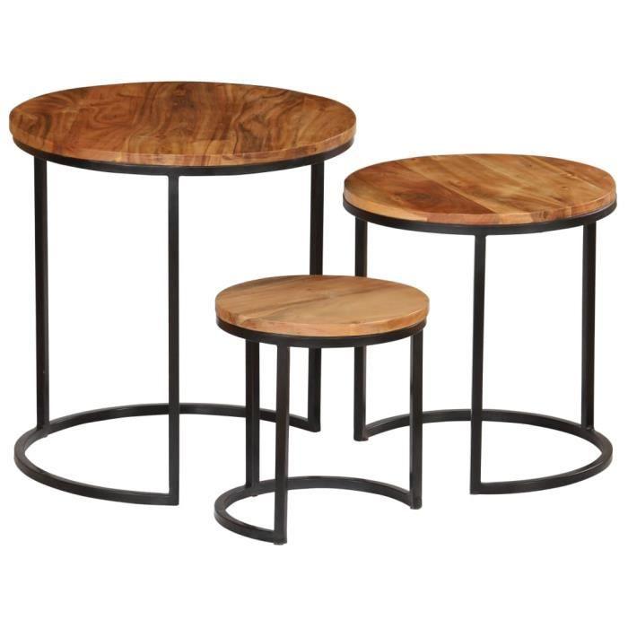 Jeu de 3 tables basses - Table gigogne vintage - Table basse et bois d'acacia massif -PAI