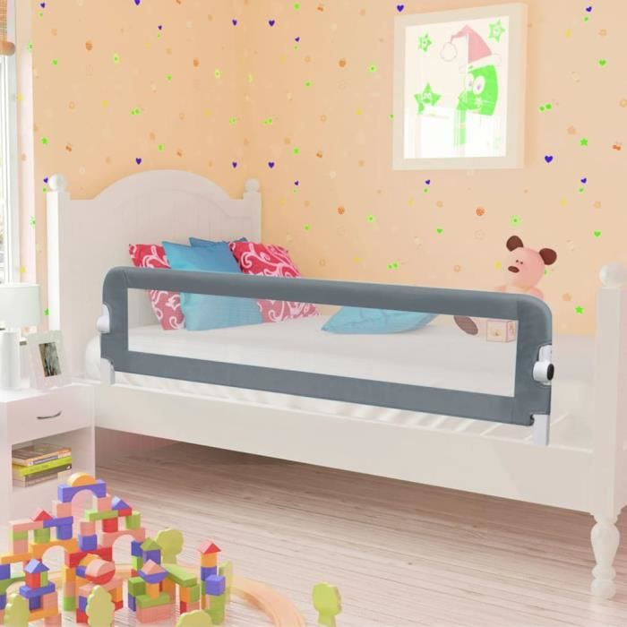 LEUCH Barrière de sécurité de lit enfant Gris 120x42 cm Polyester 9386398781082