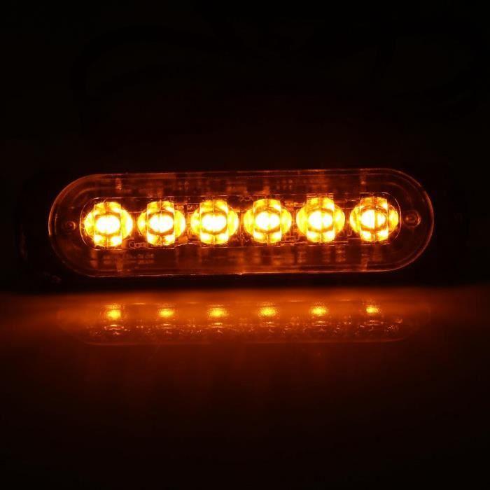 YOSOO Lampe clignotante de danger 2pcs 12V 6 LED Feux Stroboscopique d'Avertissement d'Urgence de Camion Voiture Couleur Ambre