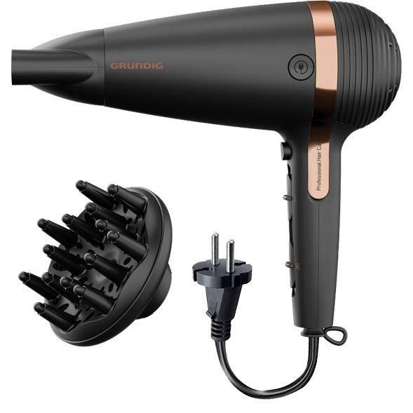 GRUNDIG HD7081 - Sèche-Cheveux Cordon Rétractable - 2100W - Fonction ionique - Touche Air Froid - 2 vitesses - 3 températures