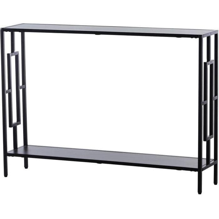 Console table d'appoint design industriel dim. 106L x 23l x 76H cm étagère acier noir panneaux particules bois gris 106x23x76cm Gris