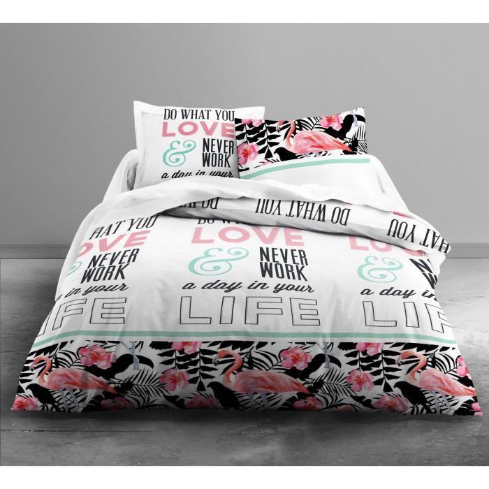 TODAY Parure de couette Enjoy Love Flamingo 100% coton - 1 housse de couette 220x240 cm + 2 taies 63x63 cm blanc, rose et noir