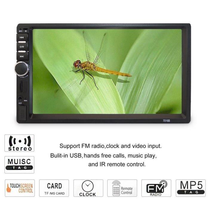 7 Pouce Lecteur Multimédia MP5 Lecteur USB FM de voiture, Écran Tactile 7018B 2 DIN, autoradio stéréo