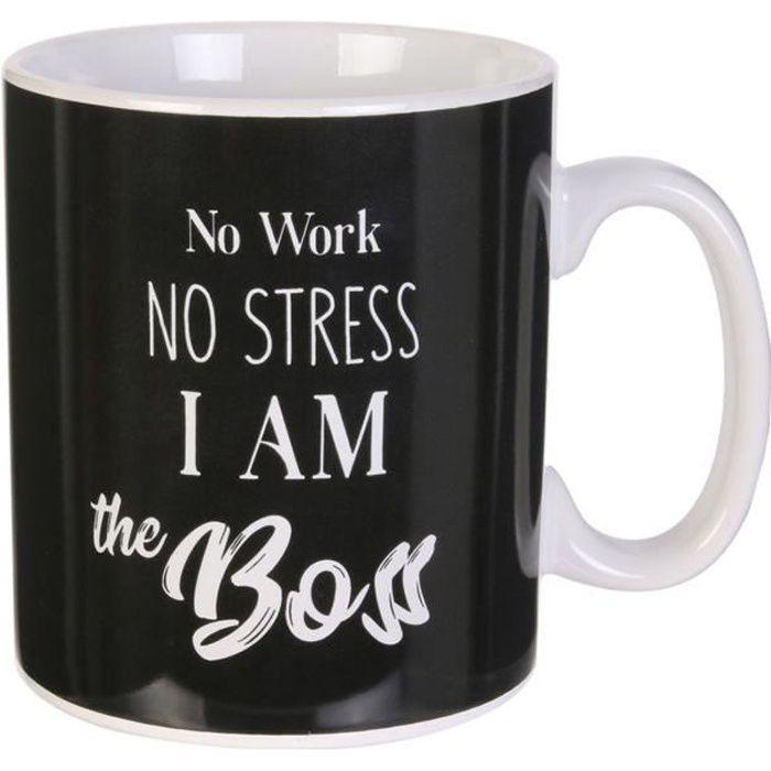 Mug géant céramique 'Messages' noir (I am the Boss) - 13x11 mm (80 cl) [A1708]