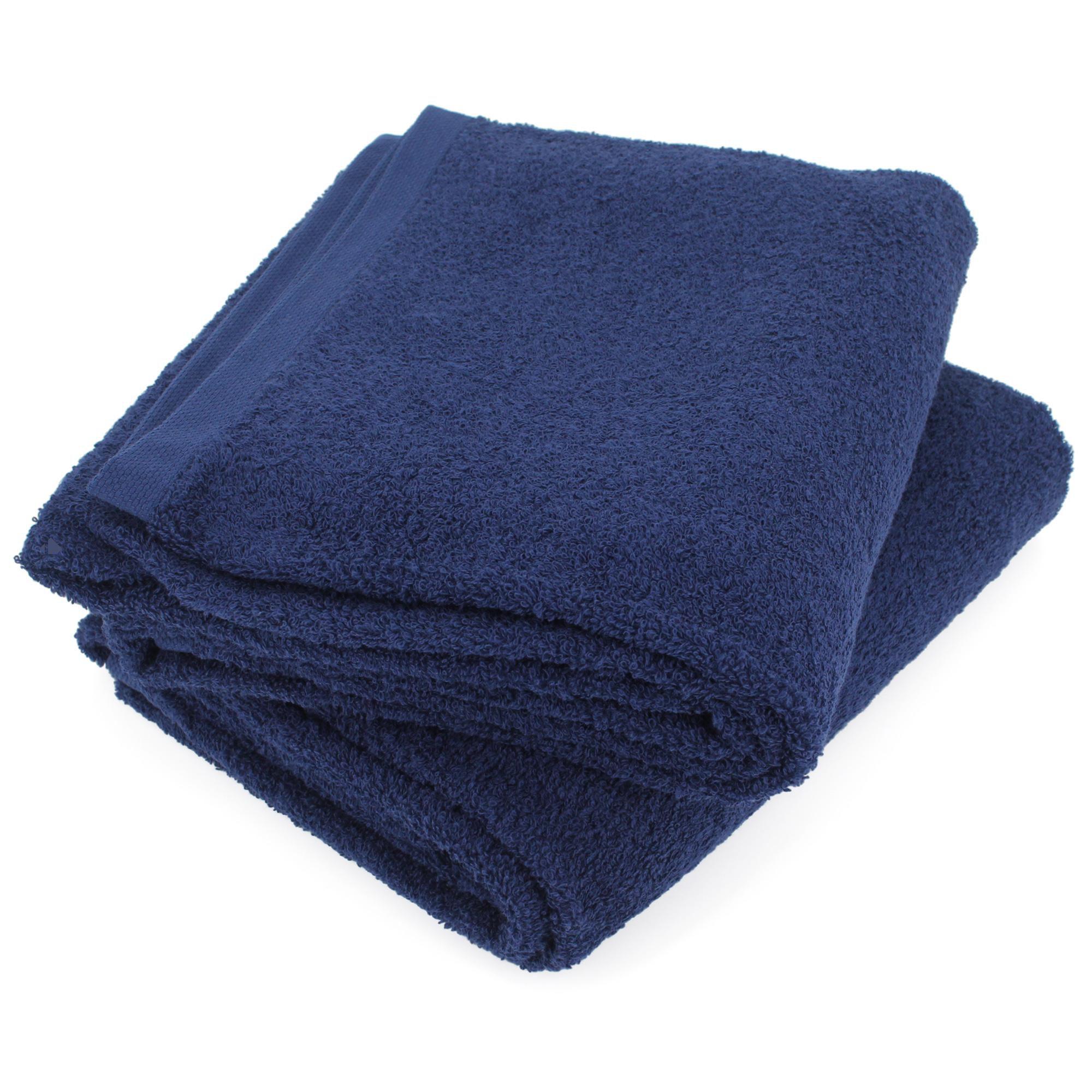 Lot de 2 draps de bain 90x150 cm ALPHA bleu Marine Bleu